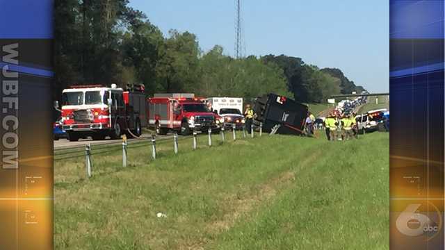 Charter bus overturns I-20 Eastbound driver charged with DUI