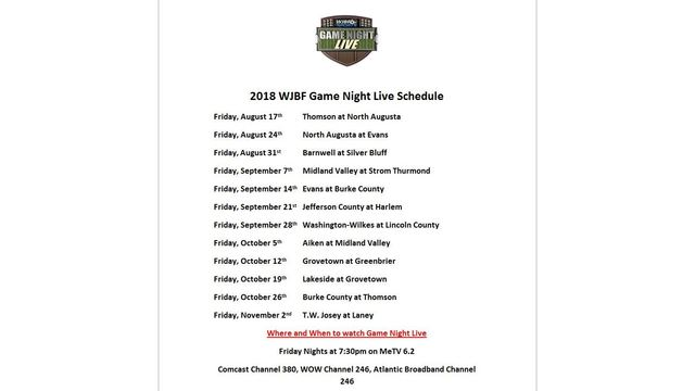 WJBF releases 2018 Game Night Live schedule