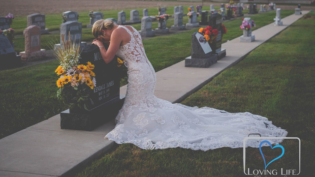 Bride takes wedding photos in memory of firefighter fiance killed in drunk driving crash